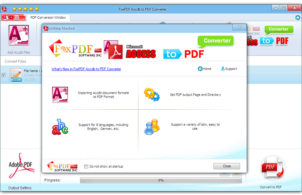 Click to view FoxPDF Accdb to PDF Converter screenshots