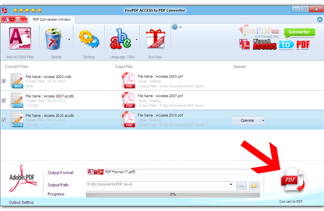 FoxPDF Access to PDF Converter Screenshot