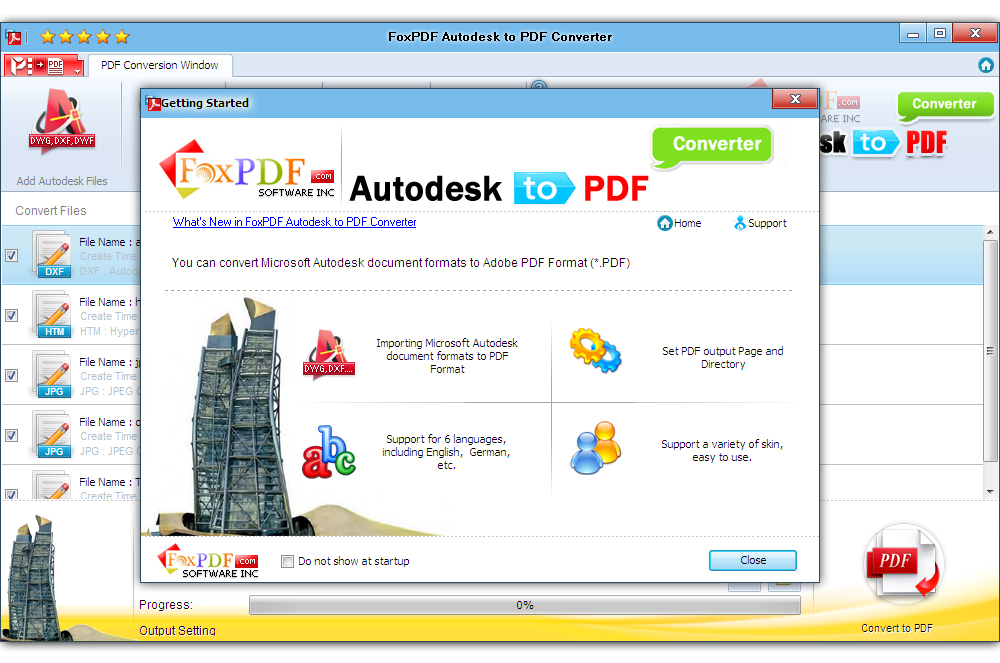 Click to view FoxPDF Autodesk to PDF Converter screenshots