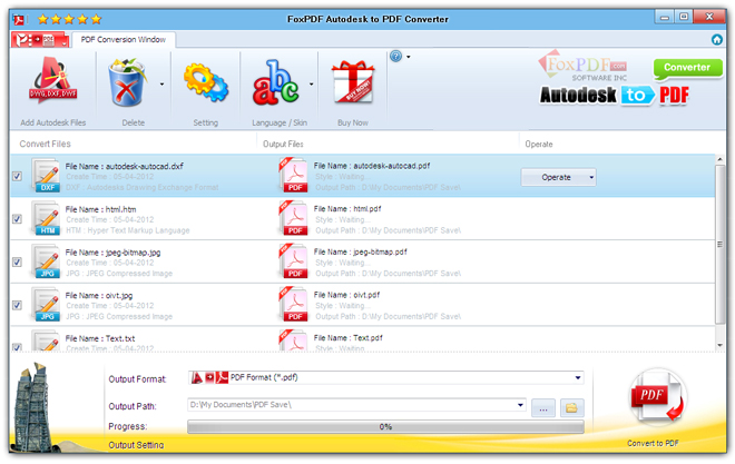 FoxPDF Autodesk to PDF Converter Screenshot