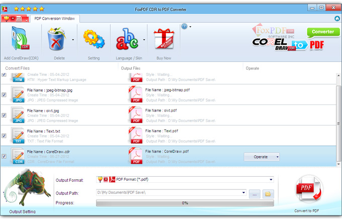 launch foxpdf cdr to pdf converter add your file by clicking add coreldraw files in the main interface