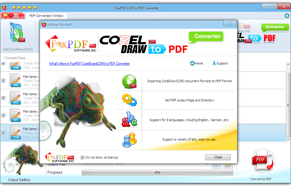 Click to view FoxPDF CDR to PDF Converter screenshots