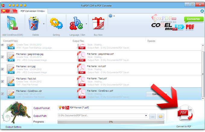 FoxPDF CDR to PDF Converter Screenshot