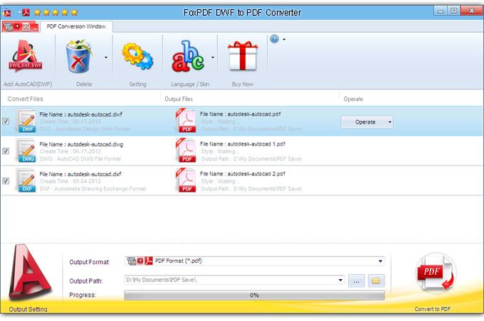 FoxPDF DWF to PDF Converter, AutoCAD to PDF Converter