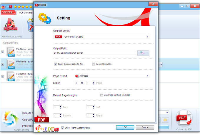 FoxPDF DXF to PDF Converter Screenshot
