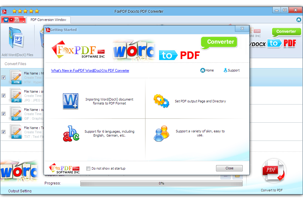 FoxPDF DocX to PDF Converter Screen shot