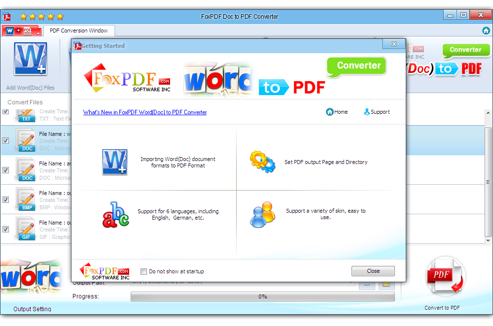 Convert Word (Doc) to PDF document formats.