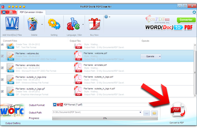 FoxPDF Doc to PDF Converter Screenshot