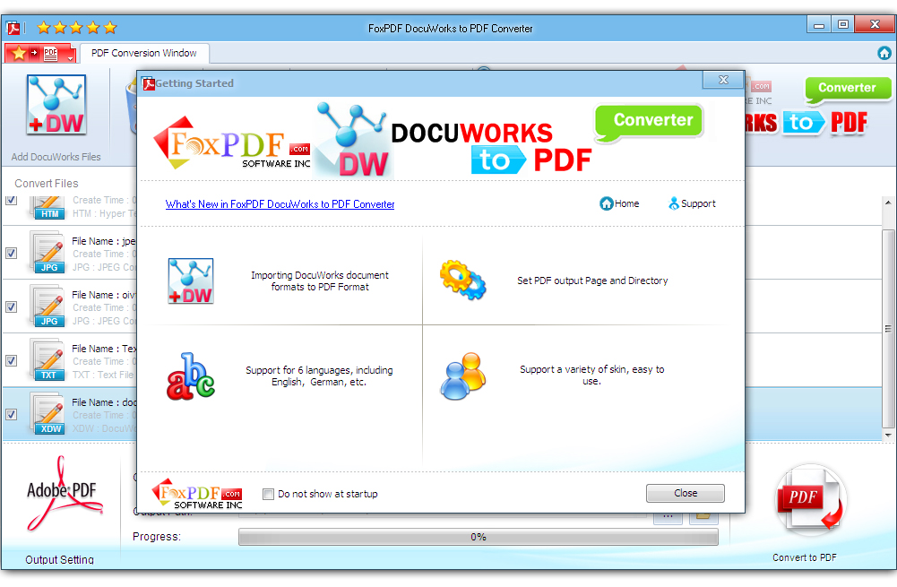 Click to view FoxPDF DocuWorks to PDF Converter screenshots
