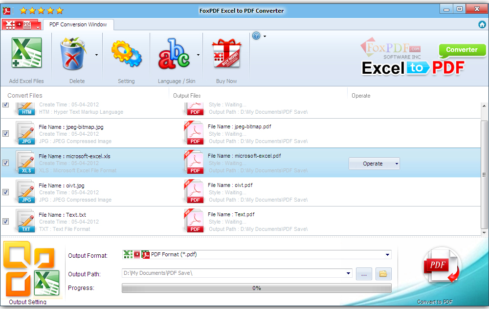 Convert Office Excel to PDF document formats.