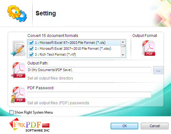 FoxPDF Excel to PDF Converter, Excel to PDF Converter