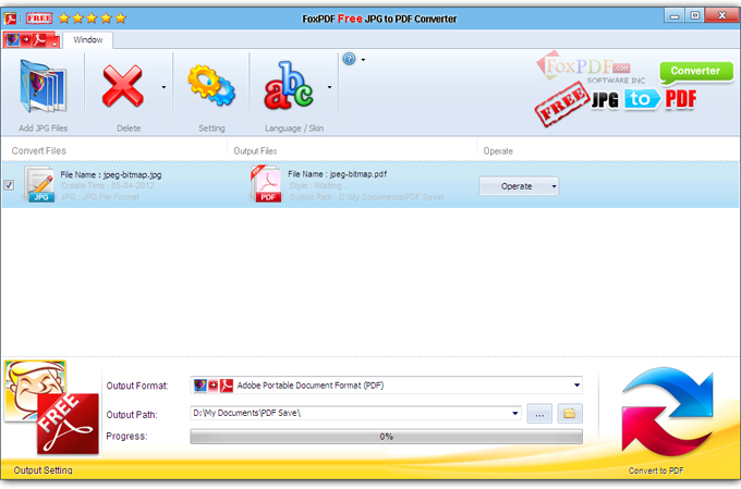 launch foxpdf jpg to pdf converter add your file by clicking add email files in the main interface