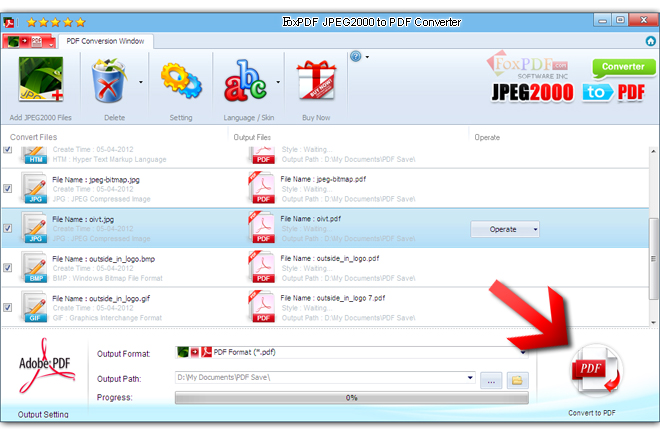 FoxPDF JPEG2000 to PDF Converter Screenshot