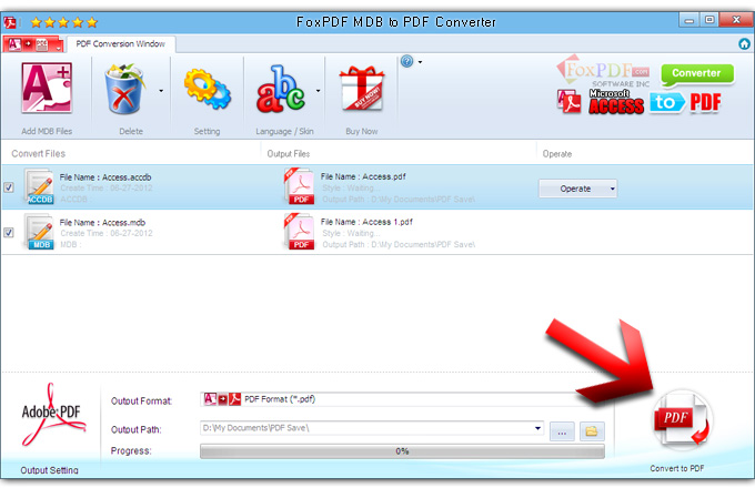 FoxPDF MDB to PDF Converter Screenshot