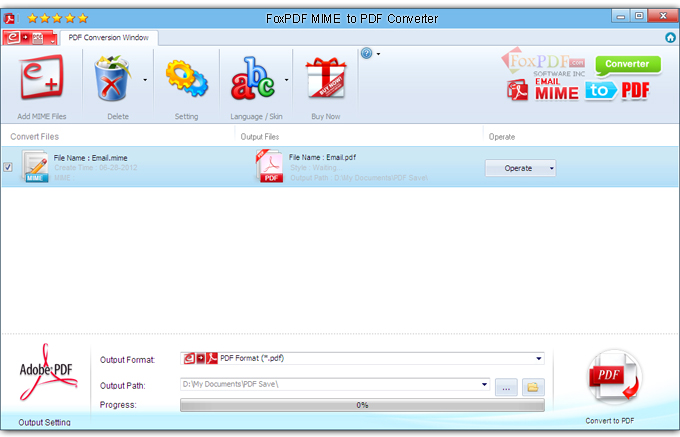 FoxPDF Mime to PDF Converter Screenshot