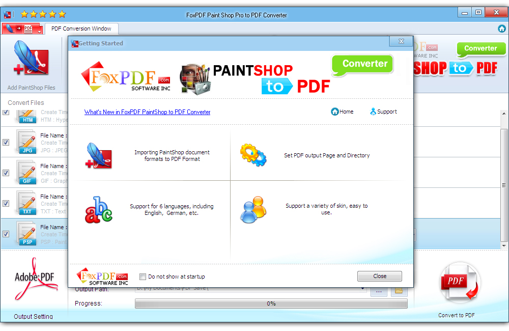 FoxPDF Paint Shop Pro to PDF Converter