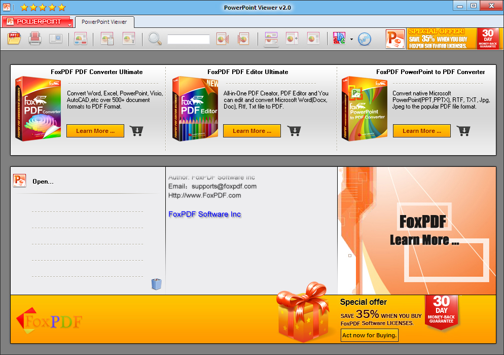 PowerPoint Viewer from FoxPDF lets you open, view PowerPoint PPT,PPTX and Rtf files as well as TXT files and it doesn