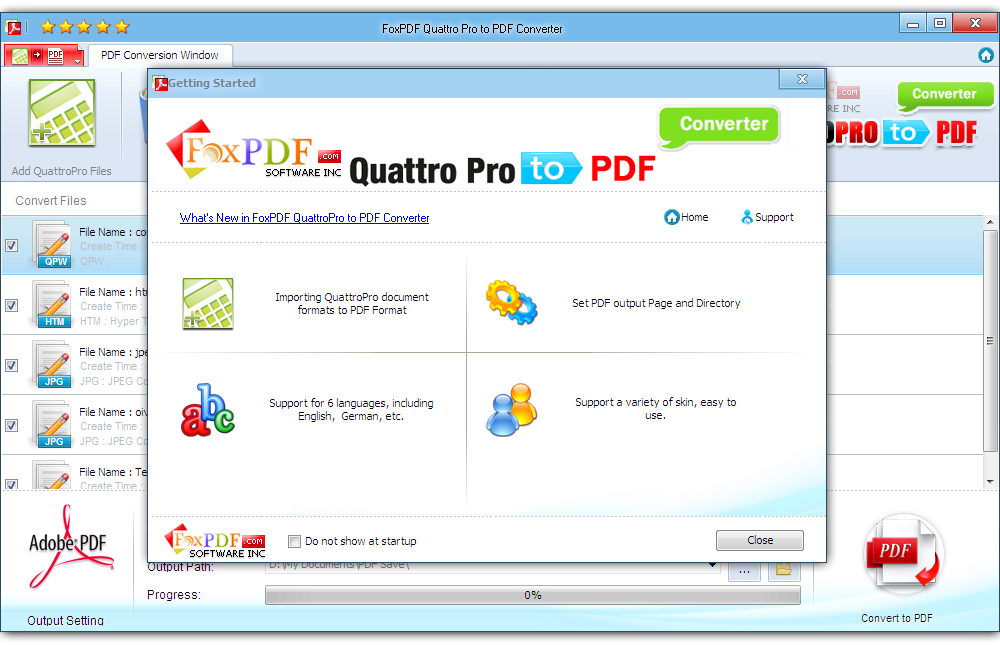 Click to view FoxPDF QuattroPro to PDF Converter screenshots