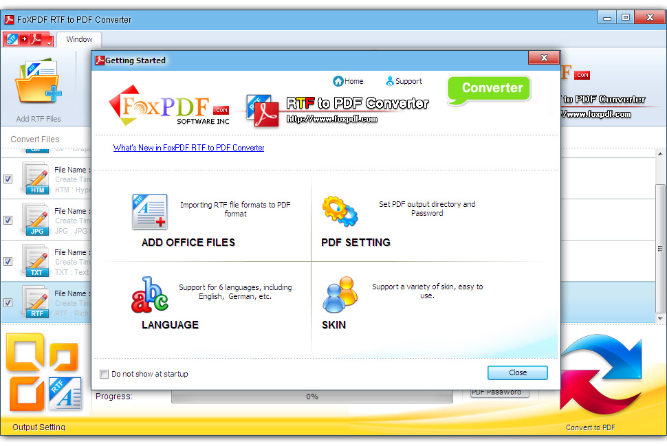 FoxPDF RTF to PDF Converter 3.0.1 Screen shot