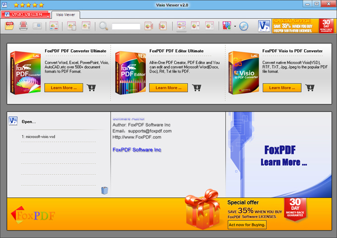 step 2 run visio viewer then open visio files to view and print panel - Microsoft Visio Editor Free Download