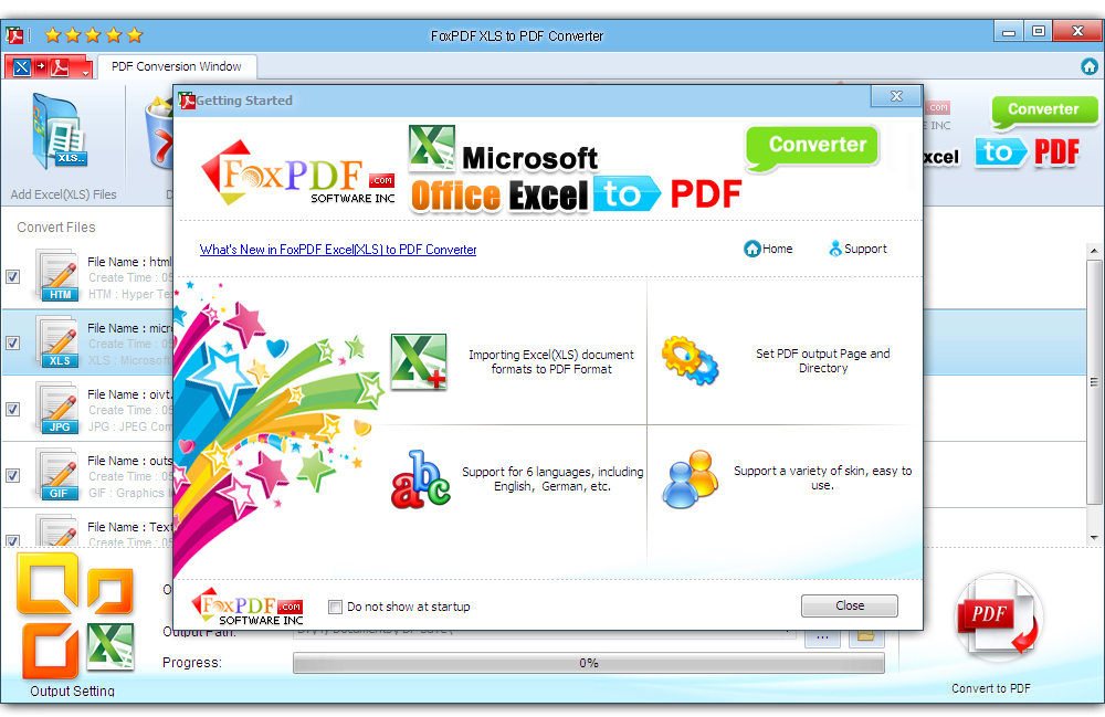 Convert Excel (XLSX,XLS) to PDF formats.
